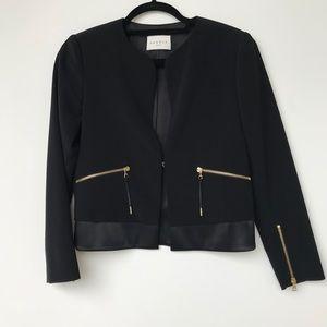 NEW Sandro Paris Veronique Noir Open Zip Blazer